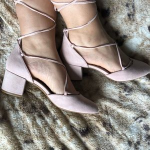 NEW block heel lace up SUEDE shoes